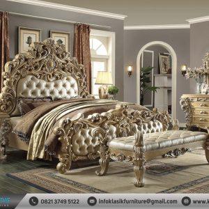 Tempat Tidur Ukir Mewah Jati Gold Jepara